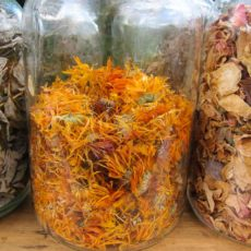 Dried Raspberry Leaves, Calendula, and Rose Petals
