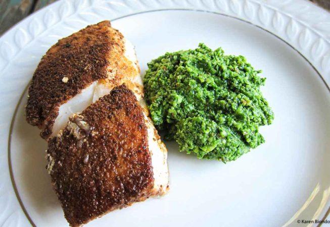 Kale Pesto with Halibut