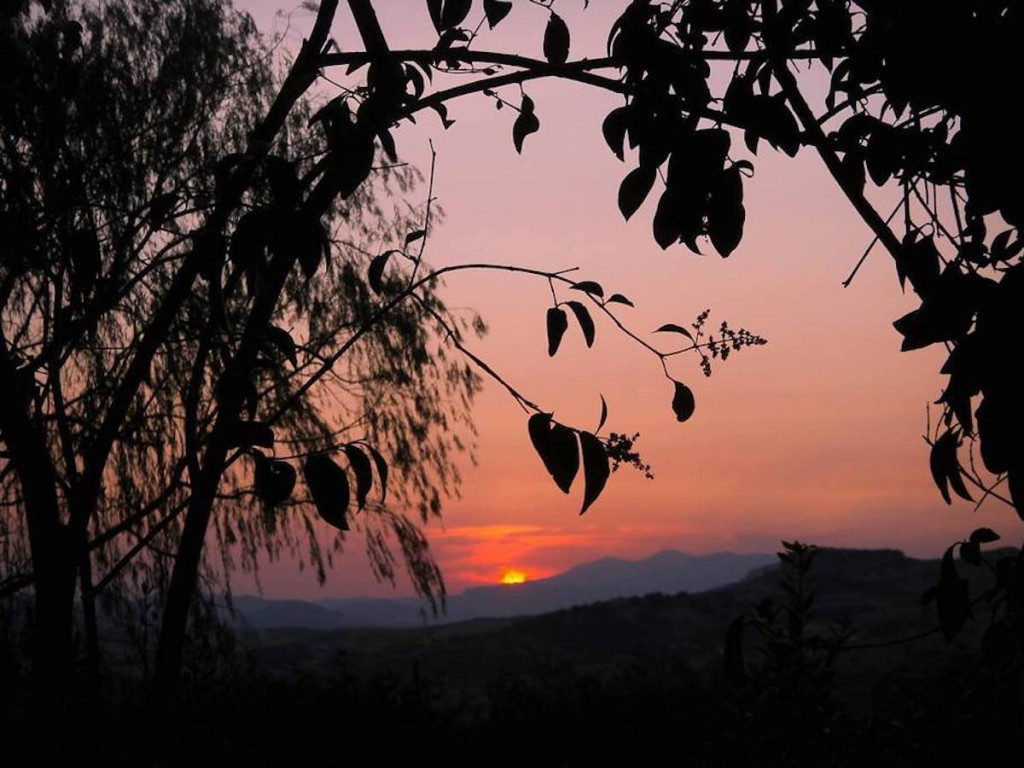 From the villa in Nicosia, Sicily. A hilltop farm at sunset